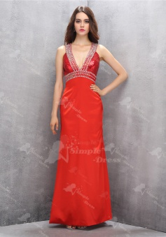 Sparkle Deep V-neck Open Back Long Sheath Red Homecoming Dress with Beading Sequined