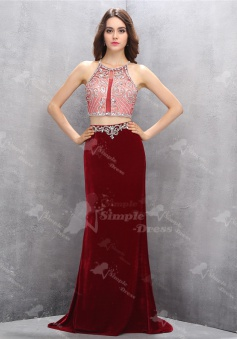 Two Piece Jewel Criss-Cross Straps Wine Red Velvet Prom Dress with Beading