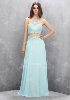 Exquisite Two Piece Jewel Backless Mint Floor-Length Prom Dress with Beading