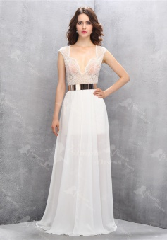 Sexy V-neck Floor-Length White Chiffon Homecoming Dress with Beading Leg Slit
