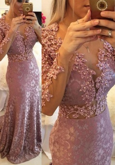 High Quality Jewel Long Sleeves Prom Dress with Beading Sweep Train
