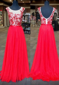 Mild Scoop Neck Sleeveless Floor-Length Backless Red Prom Dress with Appliques
