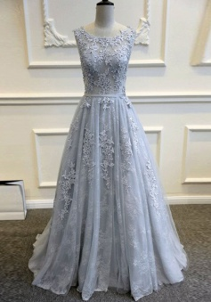 Charming Sleeveless Sweep Train Backless Light Sky Blue Prom Dress with Appliques
