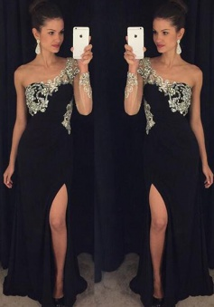 A-Line One-Shoulder Long Sleeves Black Prom Dress with Beading