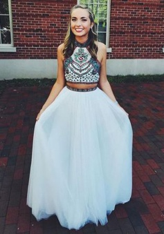 Two Piece Halter Floor-Length Prom Dress with Embroidery