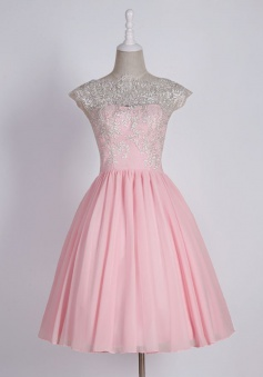 Simple Scalloped-Edge Cap Sleeves Short Pink Prom Dress with Lace Top