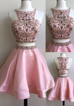 Special Two Piece Bateau Neck Sleeveless Short Pearl Pink Prom Dress with Beading