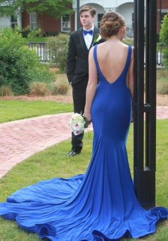 Mermaid Bateau Sleeveless Sweep Backless Train Royal Blue / Red Prom Dress