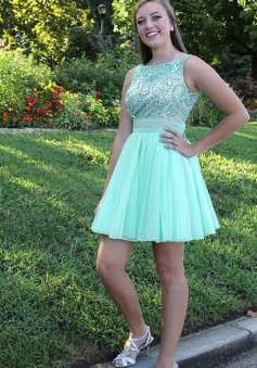 Trendy Bateau Sleeveless Short Backless Mint Prom Dress with Beading Sash