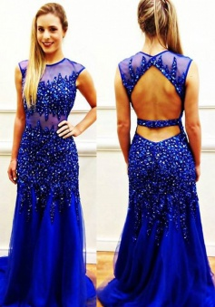Special Jewel Sheath Backless Royal Blue Prom Dress with Beading