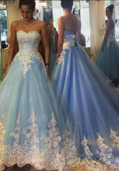 Fabulous Sweetheart Sweep Train Blue Prom Dress with White Lace