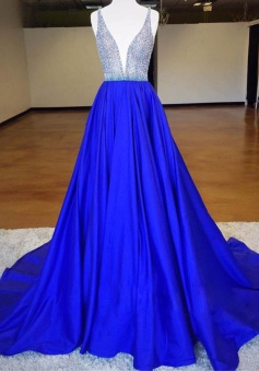 Stylish Deep V-neck Sleeveless Sweep Train Royal Blue Prom Dress with Beading