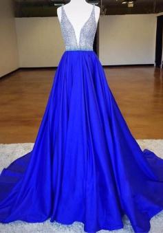 Stylish Deep V-neck Sleeveless Sweep Train Royal Blue Prom Dress with Beading