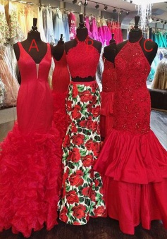 High Quality V-neck Sweep Train Red Tiered Mermaid Prom Dress Backless
