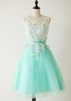 Crispy Bateau Sleeveless Short Mint Prom Dress with Sash White Appliques