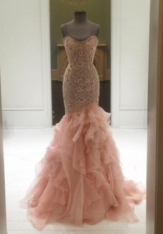 Mermaid Sweetheart  Sweep Train Tiered Blush Prom Dress with Lace