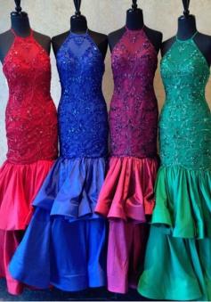 Mermaid Halter Floor-Length Tiered Taffeta Prom Dress with Beading