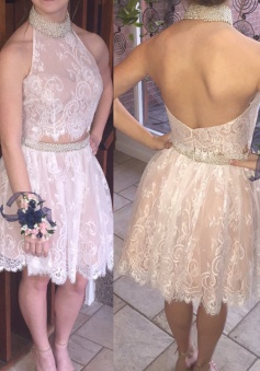 Hot Sale Two Piece Halter Short Blush Lace Prom Dress with Beading