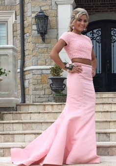 Two Piece Jewel Sweep Train Open Back Pearl Pink Prom Dress with Beading