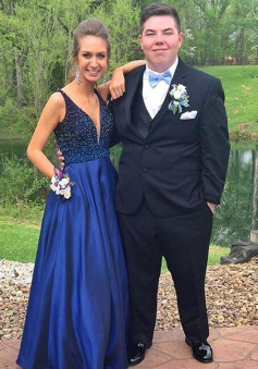 A-Line V-Neck Floor-Length Royal Blue Prom Dress with Beading