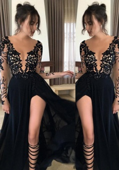 A-Line V-Neck Long Sleeves Floor-Length Black Prom Dress with Split-Side