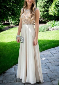 A-Line Bateau Sleeveless Floor-Length Light Champagne Chiffon Prom Dress with Beading