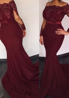 Mermaid Off-the-Shoulder Long Sleeves Sweep Train Burgundy Prom Dress with Beading