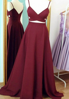 A-Line V-Neck Sleeveless Floor-Length Burgundy  Prom Dress with Ruched