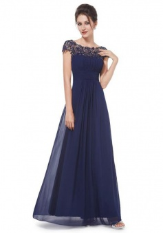 A-Line Bateau Cap Sleeves Floor-Length Navy Blue Chiffon Prom Dress with Lace