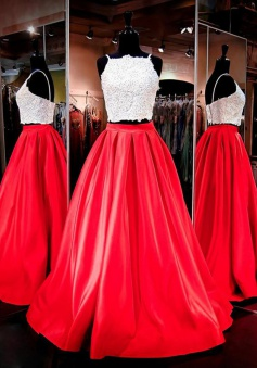 Two Piece Square Neck Floor-Length Ruched Red Prom Dress with Beading Pockets