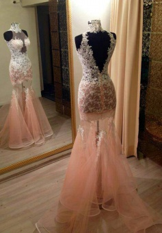 Mermaid High Neck Sweep Train Peach Organza Prom Dress with Lace