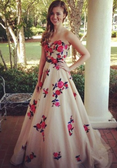 A-Line Sweetheart Sweep Train Champagne Prom Dress with Embroidery