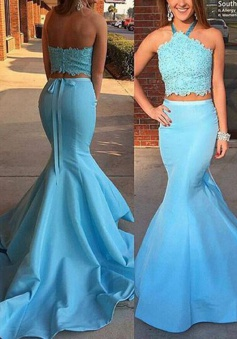 Mermaid Halter Sweep Train Blue Satin Prom Dress with Lace Top