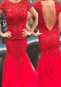 Mermaid Jewel Short Sleeves Floor-Length Backless Red Prom Dress with Beading