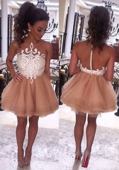 A-Line Jewel Sleeveless Short Champagne Prom Dress with White Lace