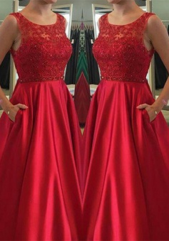 A-Line Jewel Sleeveless Open Back Red Satin Prom Dress with Beading Pockets
