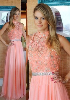 A-Line High Neck Sleeveless Floor-Length Peach Chiffon Prom Dress with Beading