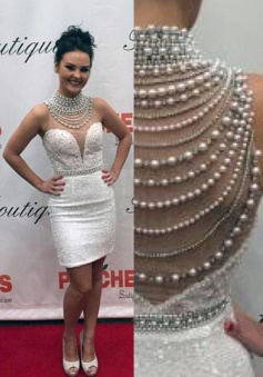 Sheath High Neck Short White Sequined Prom Dress with Lace Beading