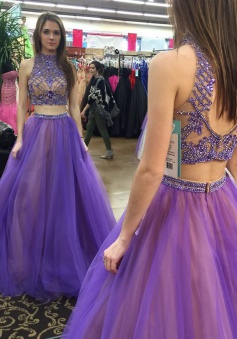 Two Piece High Neck Floor-Length Open Back Lavender Prom Dress with Beading