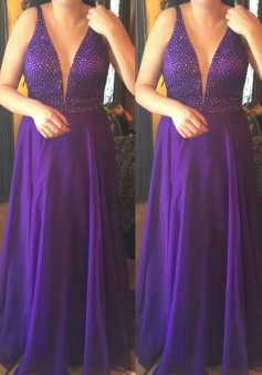 A-Line Deep V-Neck Floor-Length Purple Chiffon Prom Dress with Beading