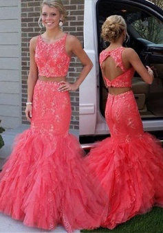 Two Piece Jewel Sleeveless Tiered Train Coral Prom Dress with Beading