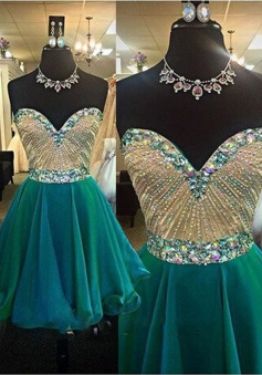 Hot Selling Sweetheart Jade Short Prom Dress with Beading