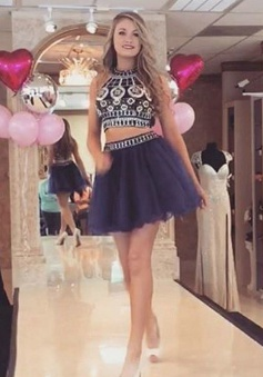 Trendy Two Piece Round Neck Short Navy Prom Dress with Beading