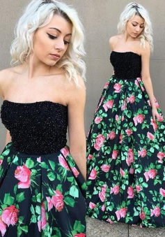 A-Line Strapless Floor-Length Black Satin Prom Dress with Beading Printed Flowers