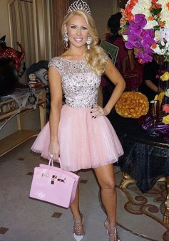Trendy Bateau Cap Sleeves Short Pink Prom Dress with Beading