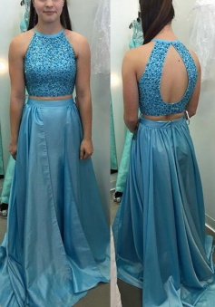 Two Piece Jewel Sweep Train Open Back Blue Taffeta Prom Dress with Beading