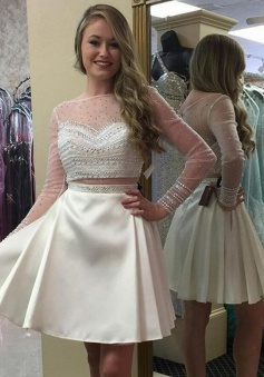 Two Piece Bateau Long Sleeves Short White Satin Prom Dress with Beading