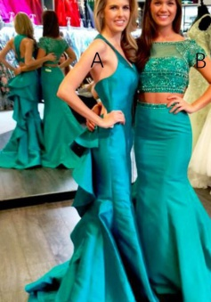Mermaid V-Neck Sweep Train Prom Dress with Ruffles