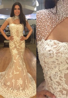Mermaid High Neck Sweep Train Light Champagne Tulle Prom Dress with Beading