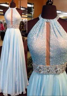 A-Line Jewel Sleeveless Light Blue Chiffon Prom Dress with Beading Sequins